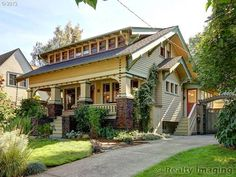 1915 Classic Craftsman Bungalow with Exceptional Curb Appeal in Coveted Laurelhurst! Remodeled with Integrity + Original Detail Intact. Craftsman Style Bungalow, Bungalow Homes, Craftsman Bungalows, Bungalow Decor, Exterior Paint Colors For House, House Colors, Craftsman Exterior, Craftsman Homes, Exterior Trim