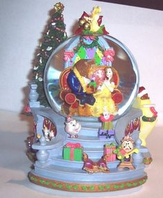 "Beauty & the Beast Disney Musical Snow Globe - music is ""I'll Be Home For Christmas"" - my favorite Disney movie with my favorite Christmas song!"