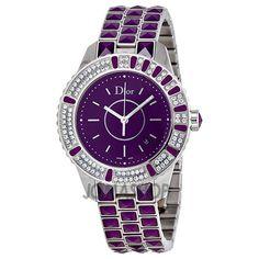 it retails for $8,295...gorgeous purple sapphire crystal bracelet. Christian Dior Christal Diamond Purple Dial Ladies Watch CD11311JM001