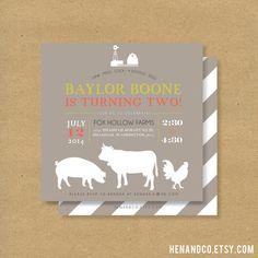 Printable FARM ANIMALS Birthday Party Invite  Barn by HENANDCO, $16.00