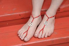PEACE RED   barefoot sandal for elegant foots by HIPPYANNE on Etsy, $15.00