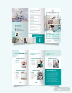 Cleaning Service Business Plan Template - Word (DOC) | Google Docs | Apple (MAC) Pages | Template.net Graphic Design Brochure, Corporate Brochure Design, Brochure Layout, Brochure Template, Brochure Ideas, Letterhead Template, Magazine Layout Design, Book Design Layout, Magazine Layouts