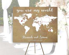 Vintage World Map Wedding Guestbook Poster Destination Wedding Map canvas Love Map Vintage Wedding Map, Wedding Guest Book Map Canvas Print