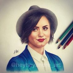 Celebrities Drawn and Colored in with Pencils Demi Lovato Young, Pretty Drawings, Celebrity Drawings, Katniss Everdeen, Disney Stars, Beyonce Knowles, Realistic Drawings, Art Music, Selena Gomez