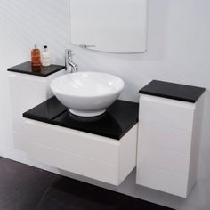 Vanity Unit Storage for Bathroom Ensuite Cloakroom - Luxury Wall Mounted Soft Closing 3 Piece Design with Black Gloss Worktop - 1 Deep Fill Drawer and 2 Cupboards - Modern Wall Hung Furniture Set in White Gloss (Dimensions - Basin Unit - Height: Wid Basin Vanity Unit, Basin Unit, Vanity Cabinet, Vanity Units, Bathroom Cupboards, Hall Bathroom, Bathroom Sinks, Countertop Basin, Countertops