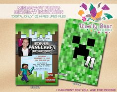 Printable Minecraft Photo Invitation by WoollyBearStudio on Etsy