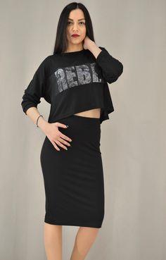 Γυναικεία φούστα μίντι εφαρμοστή | Φούστες - Φούστες - Γυναίκα | Μαύρο