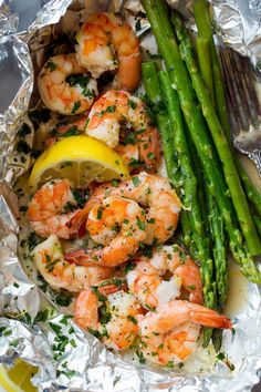Chaosqueen — guardians-of-the-food: Shrimp and Asparagus Foil...