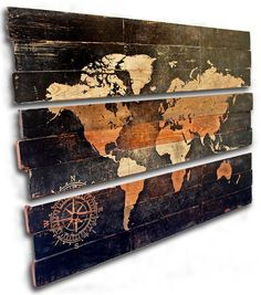 "Extra Large World Map and Compass 3 Piece Triptych Wall Art on Distressed Solid Wood - 50"" x 33"""