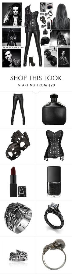 """""""✖ We're smokin' dynamite. Too many fuses to light. Got kingdom come, on the run. Gonna steal, beg, and borrow. A thousand fahrenheit and we're about to ignite. So keep the throttle to the bottom. We may never see tomorrow. ✖"""" by blueknight ❤ liked on Polyvore featuring Balmain, John Varvatos, Aspinal of London, NARS Cosmetics, Luna, Alexander McQueen and Revolver"""