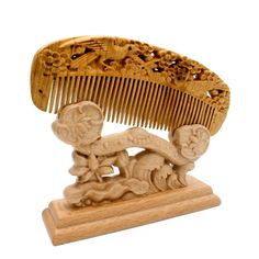 YOY Handmade Carved Natural Sandalwood Hair Comb - Anti-static No Snag Brush for Men's Mustache Beard Care Anti Dandruff Women Girls Head Hair Accessory (HC1004) * See this great product.