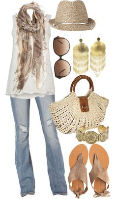 """Due South - Plus Size"" by alexawebb ❤ liked on Polyvore...love this!  I can't get away with the hat, but the rest is awesome!"