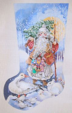 Needlepoint Handpainted JOY JUAREZ Christmas STOCKING Father Christmas ANIMALS
