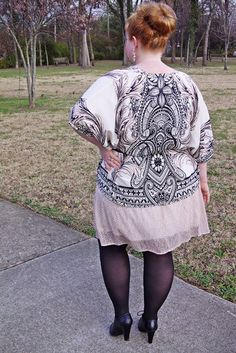 OOTD: Blush & Black. plus size fashion, style, clothing, outfit, ootd, blogger. Pink, black, and white. Frothed Dots Dress. Lizard Thicket. Kimono trend.