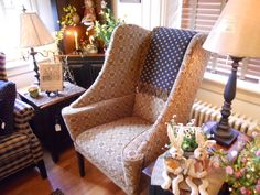 Often referred to as the hurricane chair, with deep wings and large seat. A dramatic addition to your country room. Country Style Furniture, Upholstered Furniture, Living Room Chairs, Wingback Chair, Farmhouse Style, Family Room, Accent Chairs, Wings, Relax