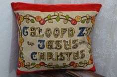 Handmade pillow / cushion with vintage van patcheduppillows op Etsy
