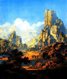 Maxfield Parish was a popular artist in the 1920's and 1930's.  He is also famous for art he produced for magazine ads and murals her painted.  He was also a photographer.  I love his landscapes especially, oh and the Jello ads.