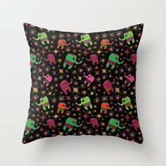 Elephant Night Throw Pillow by Reina Taylor