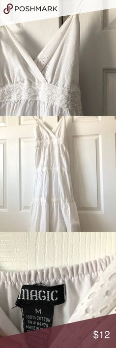 White Lace Dress Spaghetti strap lace dress. Gown comes down to about mid calf and I am 5'6. Has been worn. A little wear and tear on straps. Runs small. Dresses Midi