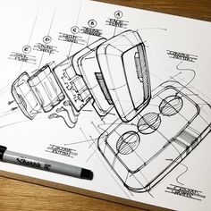 Not quite sure what product this is. A remote, perhaps? I used this sketch to practice an exploded view with an exaggerated perspective. My takeaways were: -Composition is king -Line weight adds clarity -Perspective drives interest -Callouts add pizzazz . . . #explodedview #exploded #view #product #sketch #fidelity #practice #ink #sketching #sketchbook #sketchaday #rough #scruffy #accurate #industrialdesign #productdesign #illustration #remote #silicone #assembly #plastic #circuit