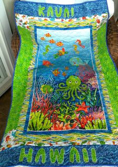 Kauai under the sea quilt and drawing by SkylersNana on Etsy, $150.00