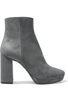 Heel measures approximately 95mm/ 4 inches with a 15mm/ 0.5 inches platform Gray suede Concealed zip fastening along side Made in Italy