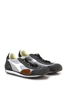 DIADORA Heritage - Sneakers - Uomo - Sneaker in pelle micro forata e camoscio con suola in gomma, tacco 15. - ANTRACITE\GREY - € 175.00