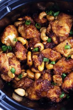 Crockpot Cashew Chicken Ingredients: 2 lbs boneless, skinless chicken thigh tenders or chicken breast tenders 1/4 cup all purpose flour 1/2 tsp black pepper 1 Tbsp canola oil 1/4 cup soy sauce 2 Tbsp rice wine vinegar 2 Tbsp ketchup 1 Tbsp brown sugar 1