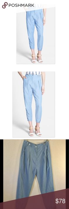 """NWT Rebecca Minkoff Mattie Pants Steele Blue These new with tags Rebecca Minkoff """"Mattie"""" pants are the perfect mix of casual and cool. These feature a high waist, front pleats and elastic ankles with buttons! There's one welt pocket at the back and  button and zipper closure in the front. They are tagged a size 6 but here are the measurements laying flat:  🌞14.75"""" waist 🌞13.5"""" rise 🌞24.5"""" inseam These are brand new and retail for $228. Thanks for checking us out! Rebecca Minkoff Pants"""