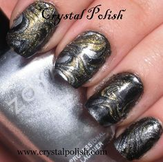 Silver and Gold Water Marble