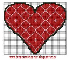 Dibujos Punto de Cruz Gratis: Heart Cross Stitch - Corazon punto de cruz