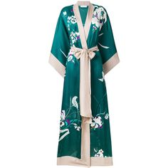 Carine Gilson long floral kimono ($2,370) ❤ liked on Polyvore featuring green and carine gilson