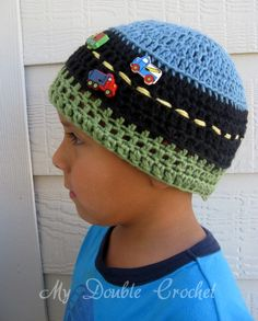 Truck beanie - this is an etsy link but I think the pattern would be simple to figure out...