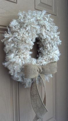 Lush & Plush Yarn Pom Pom Wreath. Faux wool look. Perfect for Spring, Mother's Day, Primitive Decor, Rustic, Woodsy