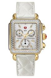 MICHELE 'Deco Diamond' Two-Tone Watch Case & 18mm Quilted Leather Strap