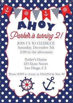 Nautical Birthday Invitation, Nautical Invite, Anchor Invitation, Nautical…