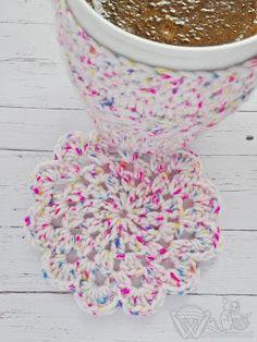 Podkładka pod kubek na szydełku - kawa Crochet cup coaster - coffee