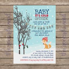 Woodland Baby It's Cold Outside Sip & See or Baby Shower Invitation