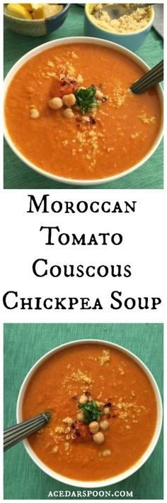 Moroccan Tomato Couscous Chickpea Soup is full of vegetables and plum tomatoes simmered with rich spices while couscous and chickpeas add texture and protein. Soymilk helps to create a creamy texture and adds additional protein.// A Cedar Spoon #ad #soyswaps