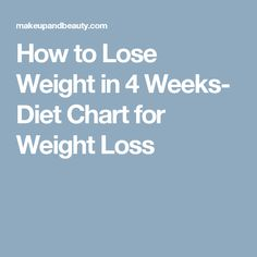 How to Lose Weight in 4 Weeks- Diet Chart for Weight Loss