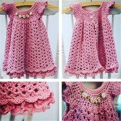 Pink crochet dress for baby girl available from online shop. Baby Girl Dresses, Baby Dress, Blouse, Crochet, Pink, Shopping, Tops, Women, Fashion
