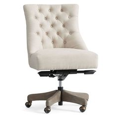 Pottery Barn Hayes Swivel Desk Chair ($599) ❤ liked on Polyvore featuring home, furniture, chairs, office chairs, spinning wheel chair, tufted swivel chair, swivel chairs, low chair and adjustable chair