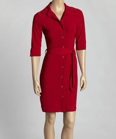 Love this Red Belted Shirt Dress by Avital on #zulily! #zulilyfinds
