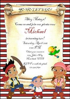Jake and the Never Land Pirates Themed Custom by MVPrintables, $10.00