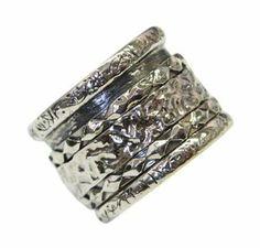 925 Strerling Silver Vintage Band Ring Unique Spinning Artisan Women's Men's