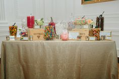 gorgeous gold candy station! Candy Stations, Gold Candy, Wedding Planning, Craft Ideas, Sweet, Crafts, Manualidades, Wedding Ceremony Outline, Candy Buffet