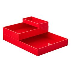 Red Poppin Accessory Trays plastic red Large 13.75x9.6x1.6h Medium 6.6x9.6x1.75h Small 3.2x6.6x.6h 17.99/8.99/5.99 2/16