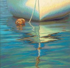 cape cod paintings with sailboats | Cape Cod Sailboat Reflection Painting by Poucher | pastel painting