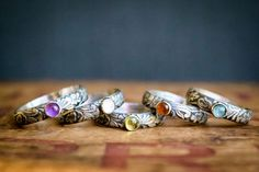 These would look lovely stacked over a band. Sterling Silver Gemstone Ring  Birthstone Ring  by BuffaloLucy