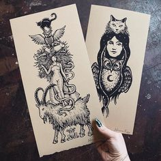 "Poison Apple Printshop on Instagram: ""The witch and her familiars depicted here in 'Familiars Rising' and 'Nocturna,' both available in the shop. If I could pick my dream…"""